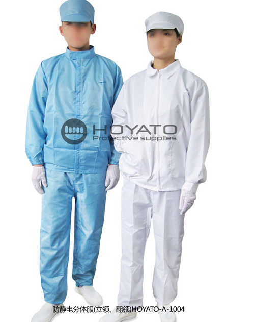 Blue / White ESD Anti Static Jacket Customized Stand Collar Clean Room Suit
